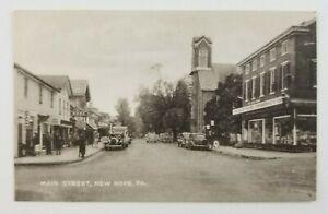 Postcard-1940-039-s-Main-Street-New-Hope-Pennsylvania