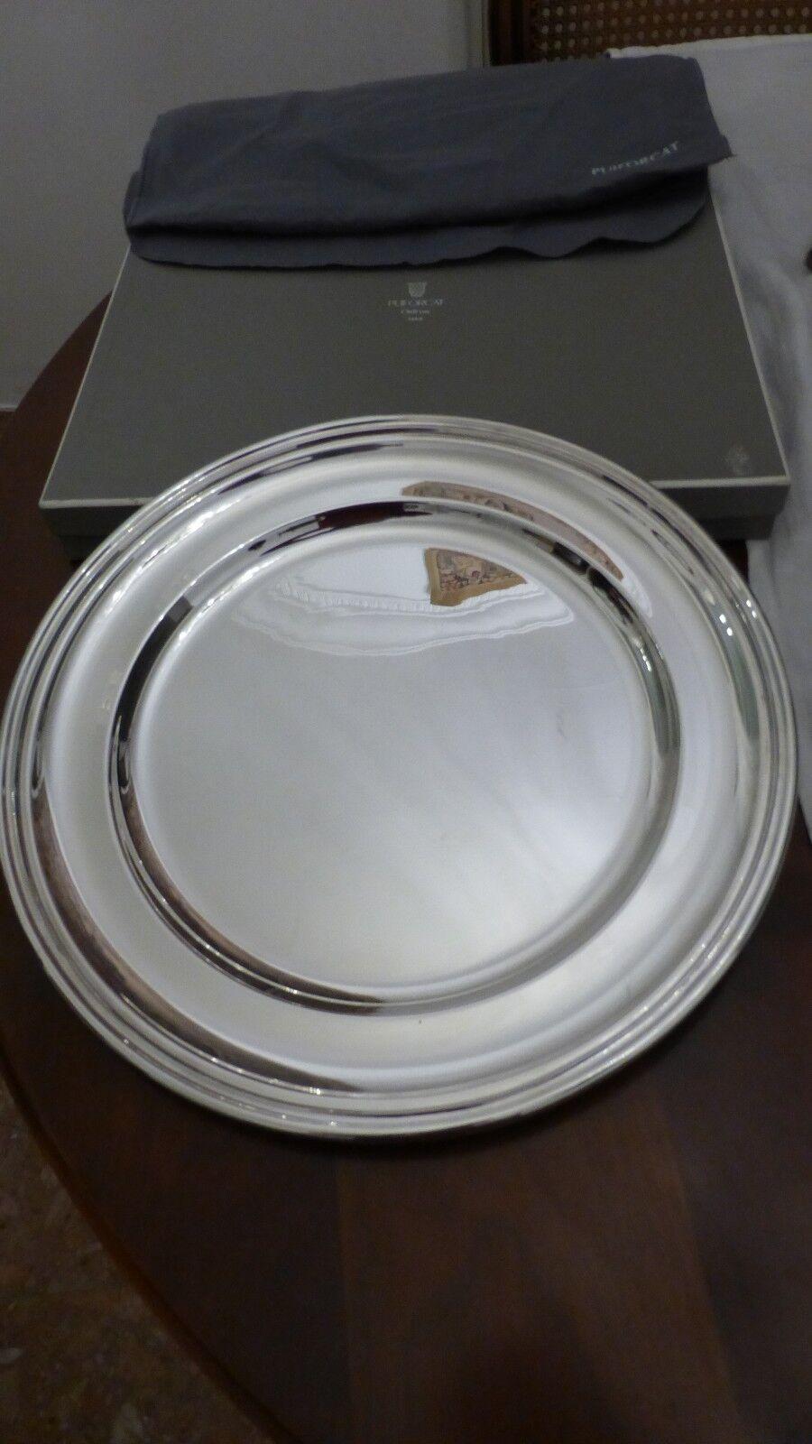 PUIFORCAT France.  Magnifique plat rond métal Silberé. 35 cm. Large dish