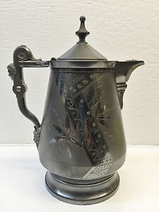 Rogers-Smith-amp-Co-Silver-Tankard-Pitcher-14-034-ANTIQUE-1868