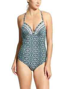 547b9ef8858 Athleta Aqualuxe Print Molded One Piece NWT SZ L Blue Mosaic (122A6 ...