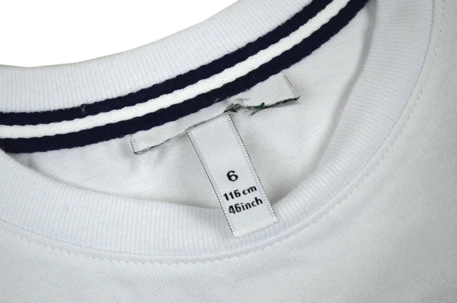 c63c536f8f730 NWD Authentic Lacoste Kids White Blue Tech Striped Cotton Pocket Tee T-Shirt  Top