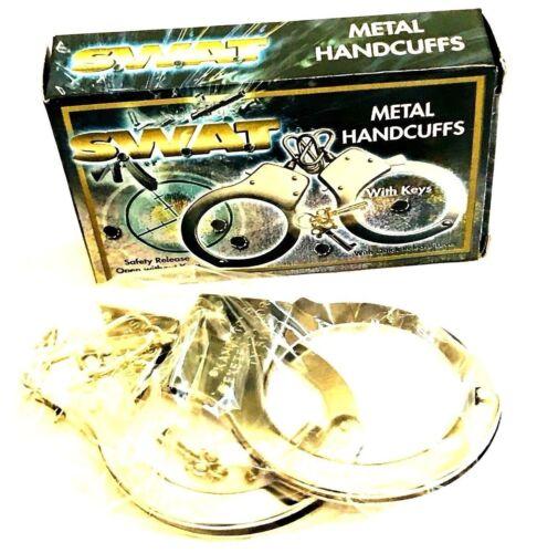 NUOVO SWAT Manette in metallo con chiavi sgancio di sicurezza a mano Polsini per Travestimenti