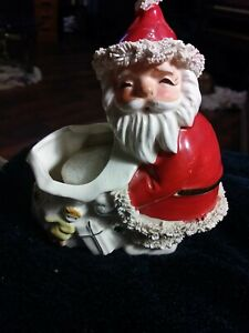 "VINTAGE SPAGHETTI TRIMMED SANTA W/ SACK PLANTER WISHING YOU ""GOOD WISHES"" Napco."