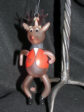 "RARE Vintage 7"" Rudolph Reindeer BLOWN GLASS Italy ITALIAN ORNAMENT CHRISTMAS"