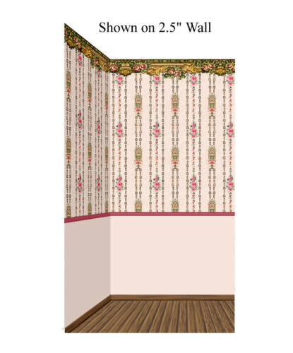 Pink Rose Panels Combo 1919 Vintage 1:48 Scale Dollhouse Wallpaper
