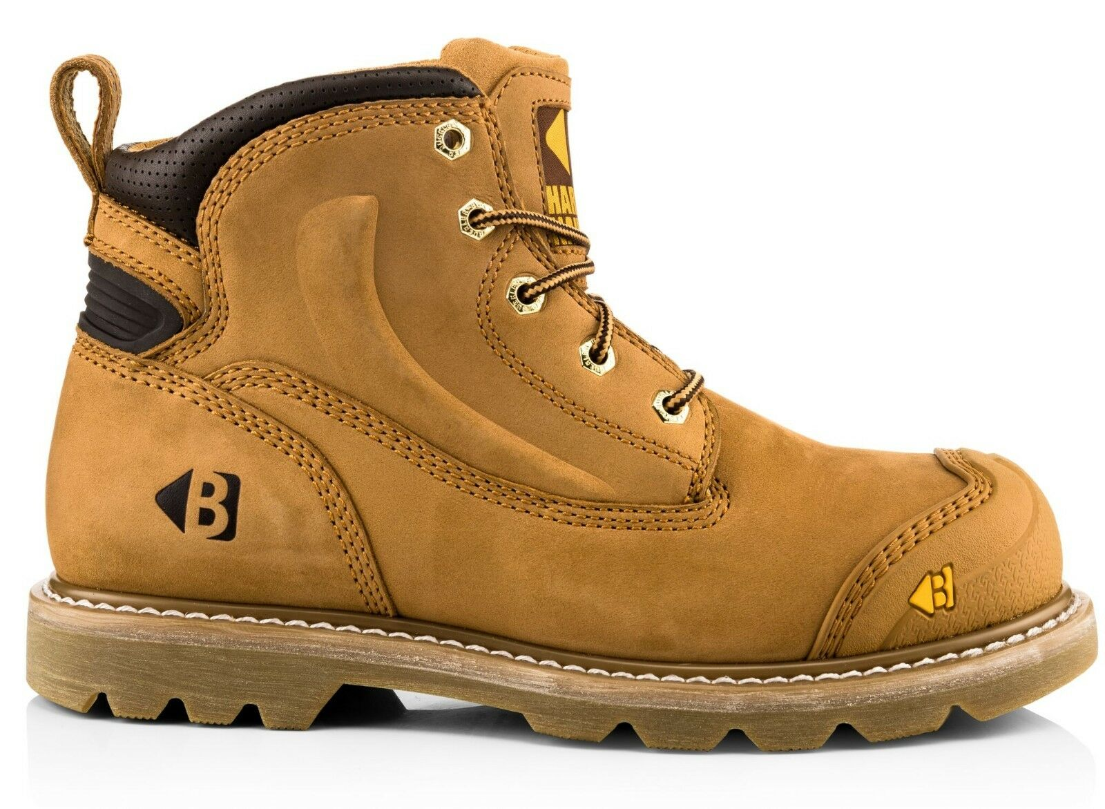 Buckbootz B650SM Wide Fit Safety Work Boots Tan Honey Leather (Sizes 7-13)