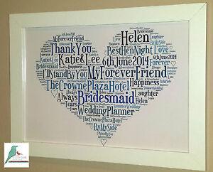 Wedding Gift Word Art : Wedding Thank You Bridesmaid etc Personalised Word Art Gift Keepsake ...