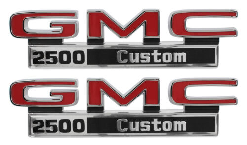 1971-1972 GMC Pick Up Truck Front Fender Emblem 2500 Custom Pair