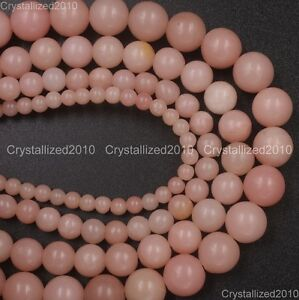 100-Natural-Gemstone-Pink-Opal-Round-Spacer-Loose-Beads-4mm-6mm-8mm-10mm-15-5-034