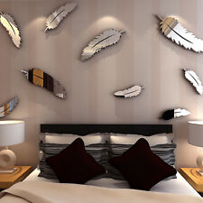 8X Silber 3D Spiegel Feder Wandaufkleber Wandtattoo Wandsticker Zimmer Dekor