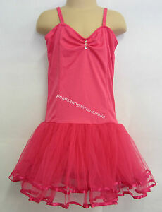 Fairy Dress Ballet Tutu Dance Costume Dk Pink 5-7 Year Polyester Stretch Leotard
