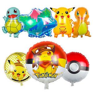 Image Is Loading Pokemon Pikachu Pokeball Latex Foil Balloon Kids Birthday