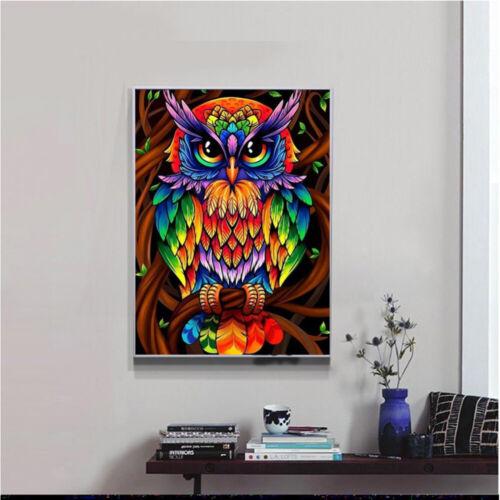 5D DIY Full Drill Diamond Mosaic Multicolorl Owl Cross Craft Stitch Kit Handmade