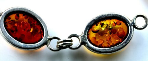 Amber and Sterling Silver Link Bracelet Hexagonal Links Small Cabochons Vintage