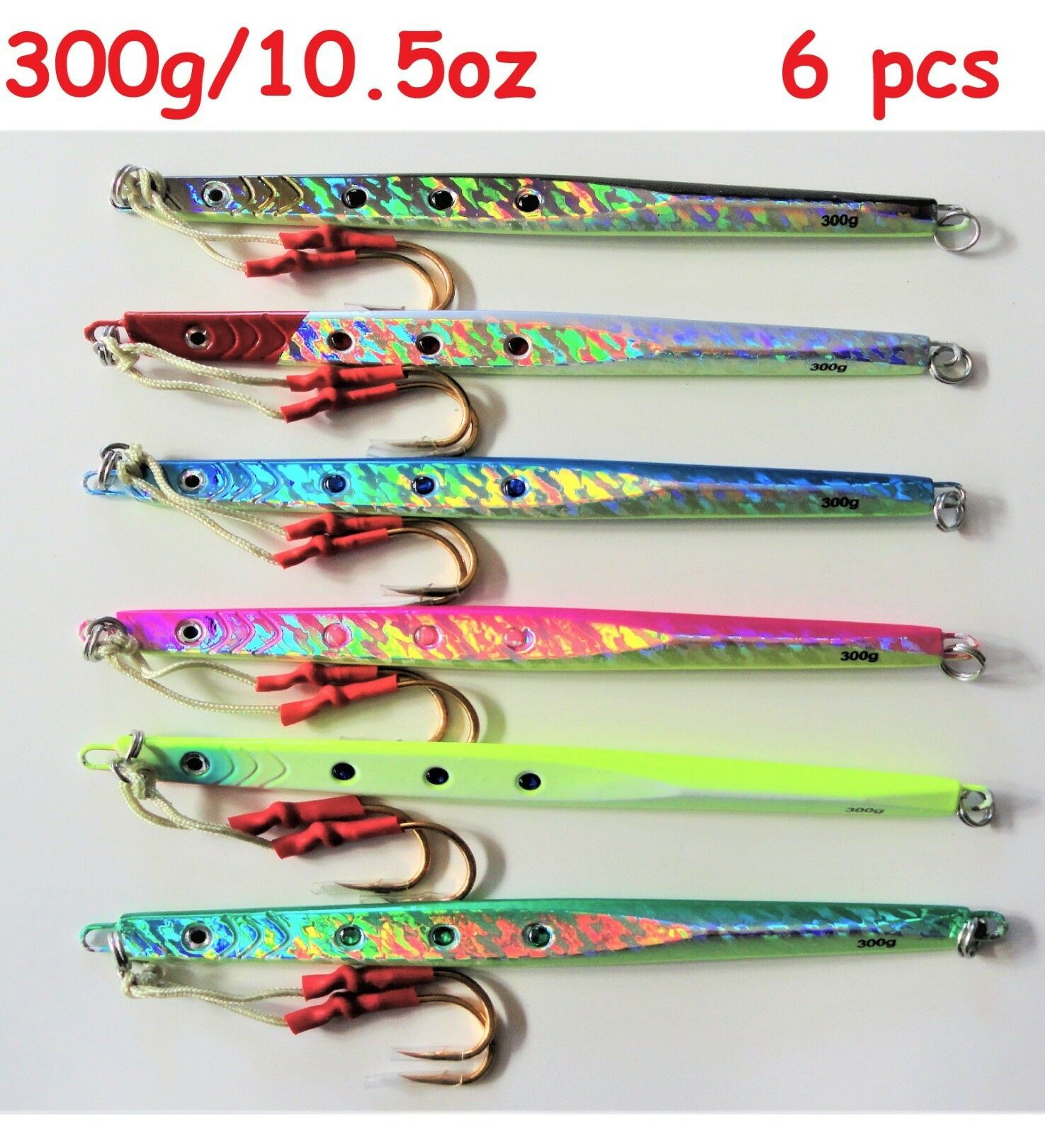 6 pcs 300g 10oz Speed verdeical Butterfly Jigs Saltwater Fishing Lures With Bag