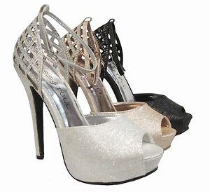 0fe21585d86 Details about Silver Black Champagne Platform Peep Toe Ankle Strap Heels  Pumps Sandals Shoes