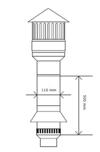 Dachentlüftung Entlüftungssystem  DN 110 Höhe 500mm   9 3011 500 44 01 03