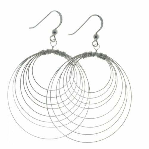 Details about  /Sterling Silver Round Wire Drops approx 31mm E473