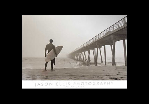 Surfing INTO THE MIST Classic Sepia Black-and-White Wall POSTER by Jason Ellis