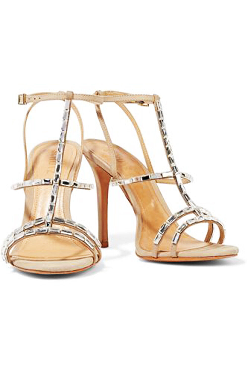 Schutz Darcy Nude Natural Oyster Leather Strappy Stiletto Embellished Sandals