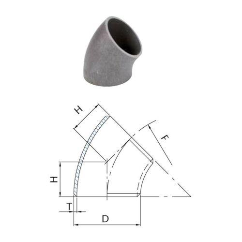 Schweissbogen 114,3 x 3,6 mm 45° kurz 4 Zoll DN100 Rohrbogen Schweissfitting