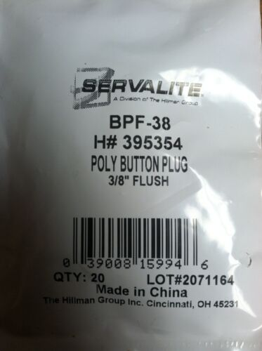 """POLY BUTTON PLUG 3//8/"""" FLUSH PACK OF 20"""