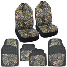 Camo Seat Covers Heavy Duty Rubber Floor Mats Forest Camouflage for Truck SUV