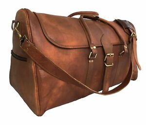Mens-Bag-Leather-Duffle-Travel-Luggage-Gym-Vintage-Genuine-Weekend-Overnight-New