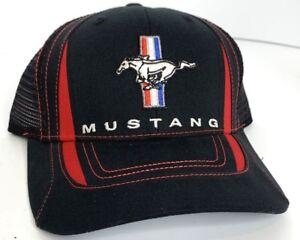 f2f92e4f4ecc Hat Cap Licensed Ford Mustang W/ Pony Tri Bar Emblem (Red, Black) | eBay