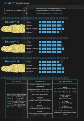 ONE 6M HYBRID SET ASHAWAY KEVLAR 16 TENNIS STRING GOLD RRP £15 1.30MM 16G