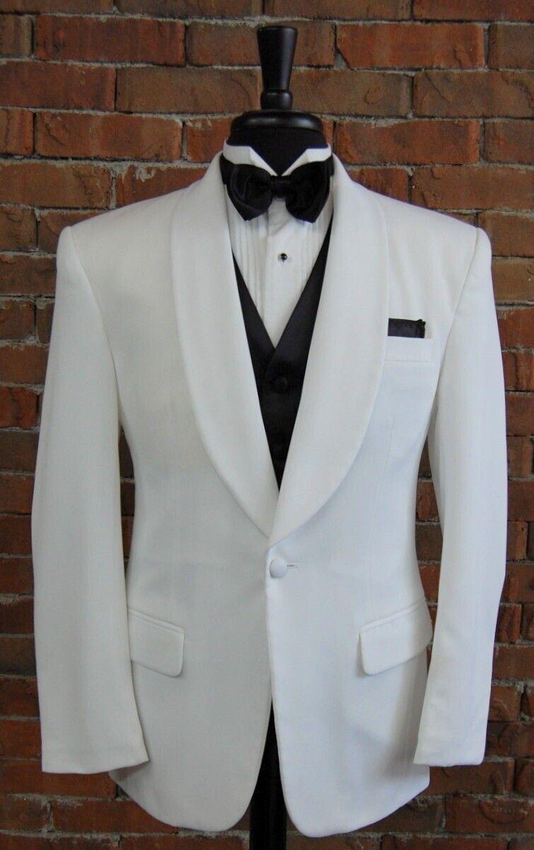 Mens 38 R Classic White Shawl Self Lapel One Button Tuxedo Dinner Jacket