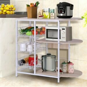 Details about 3-Tier Microwave Oven Cart Bakers Rack Kitchen Storage  Shelves organizer Stand