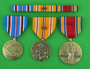 WWII-American-Asiatic-Pacific-Campaign-2-stars-Victory-Medals-Ribbon-Bar-WW2