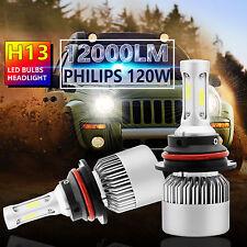 2X 120W 12000LM PHILIPS LED Headlight Kit H13 9008 Hi/Low Beam 6000K White Bulbs
