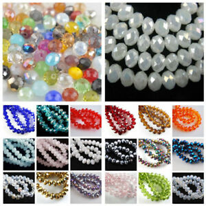 New 3mm//4mm//6mm//8mm//10mm Rondelle Faceted Crystal Glass Spacer Loose Beads