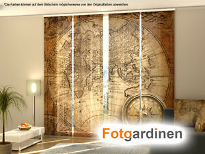 fotogardinen kompass schiebevorhang schiebegardinen motiv fotodruck auf ma ebay. Black Bedroom Furniture Sets. Home Design Ideas