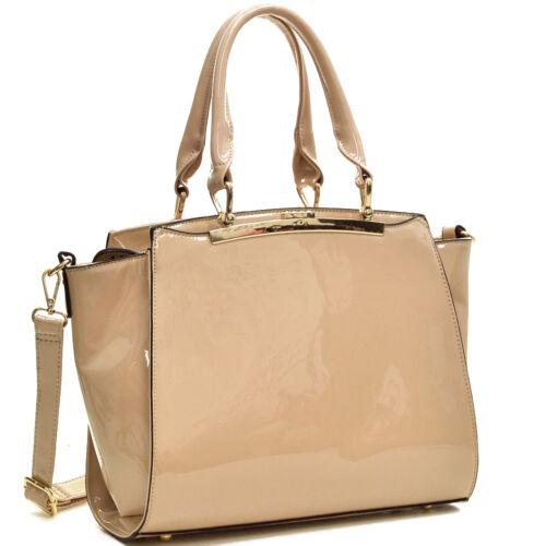 Dasein Womens Handbags Faux Patent Leather Satchel Tote Bags Medium Large Purse