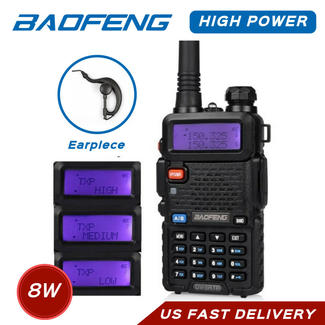 1 Programming Cable 5 Pack UV-5RTP+1 Cable 5 Pack Baofeng UV-5RTP Tri-Power 8W//4W//1W UHF VHF Dual Band High Power Two-Way Radio Transceiver