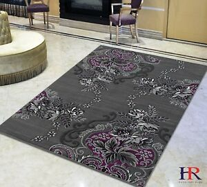 Purple Grey Silver Black Abstract Area Rug Modern Contemporary