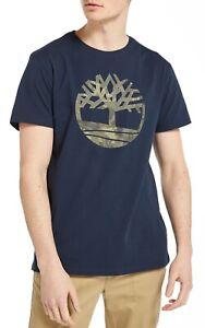 Timberland-Kennebec-Retro-arbol-Logo-T-Shirt-Tee-Top-de-algodon-de-cuello-redondo-para-hombre-azul