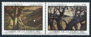 Colombia C852 ab pair,MNH.Mi 1864-1865.Earth Summit 1992.Tree,mountain,birds.