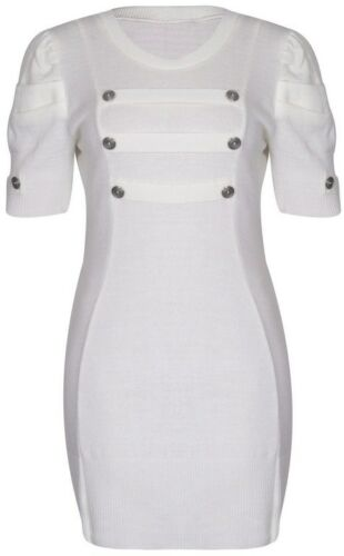 New Womens Plus Size Puff Sleeve Military Knit Tunic Jumper Dress 16-26