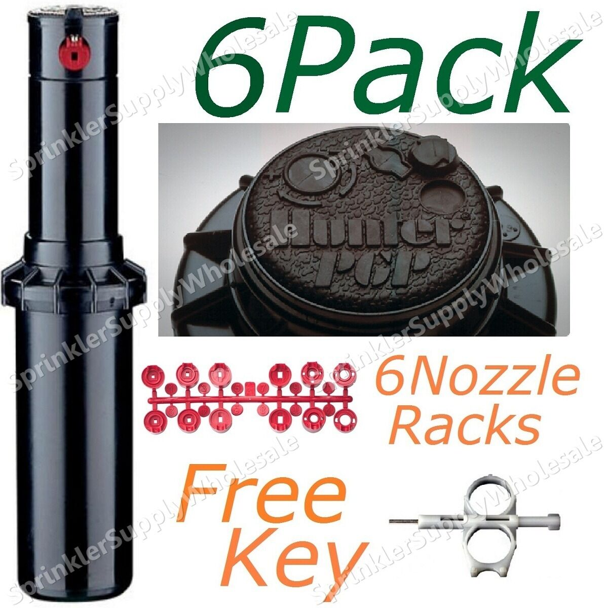 Hunter pgp-adj rojoor, Boquilla Rack, herramienta de ajuste, Lote De 6 Aspersores