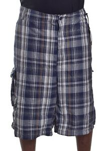 Beverly-Hills-Polo-Club-Men-039-s-Big-amp-Tall-Navy-Blue-Plaid-Cargo-Shorts-Size-50