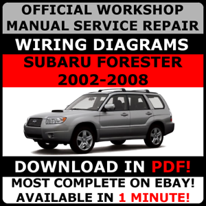 official workshop service repair manual for subaru forester 2002 rh ebay com au 2017 Subaru Forester Idiot Lights 2002 Subaru Forester Manual