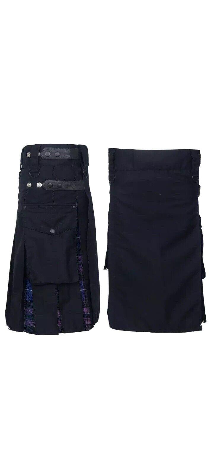 Men's Hybrid Leather Straps, 36Cotton & Tartan (Pride Of Scotland) Utility Kilt