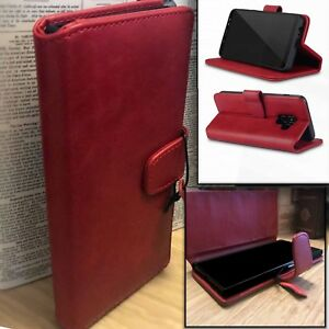 GALAXY-A8-2018-Real-Leather-Executive-Red-Folio-Case-Card-Wallet-Purse