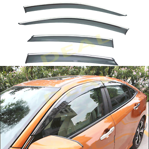 4pcs Smoke w// Chrome Trim Vent Shade Window Visors Fit 16-19 Civic 4-Door Sedan
