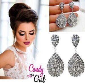 Beautiful Crystal Diamante Silver Teardrop Bridal Wedding Evening Earrings