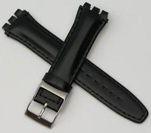 Hebilla Chrono Reloj Detalles Correa Cuero Swatch Calidad Original Banda Irony Plata De Título 19mm Ver Negro Yfyb7I6mgv